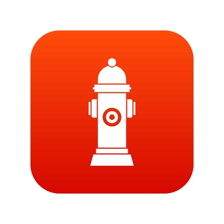 Hydrant icon digital red background