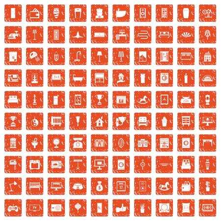 100 interior icons set in grunge style orange color isolated on white background vector illustration Vectores