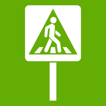 Pedestrian sign icon white isolated on green background. Vector illustration Illustration