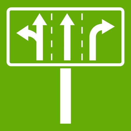 Traffic lanes at crossroads junction icon white isolated on green background. Vector illustration Illustration