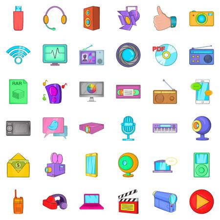 Multimedia mean icons set. Cartoon set of 36 multimedia mean vector icons for web isolated on white background Illustration