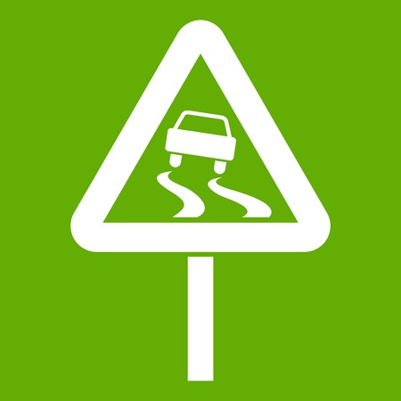 Slippery when wet road sign icon white isolated on green background. Vector illustration