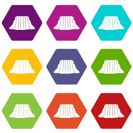 Niagara Falls icon set many color hexahedron isolated on white vector illustration