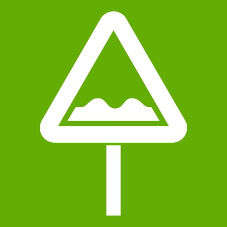 Uneven triangular road sign icon white isolated on green background. Vector illustration
