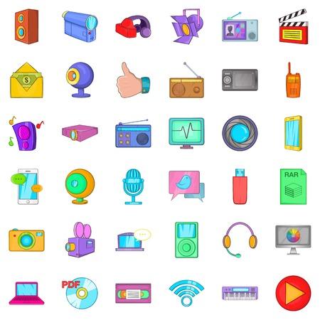 Information cloud icons set, cartoon style Illustration