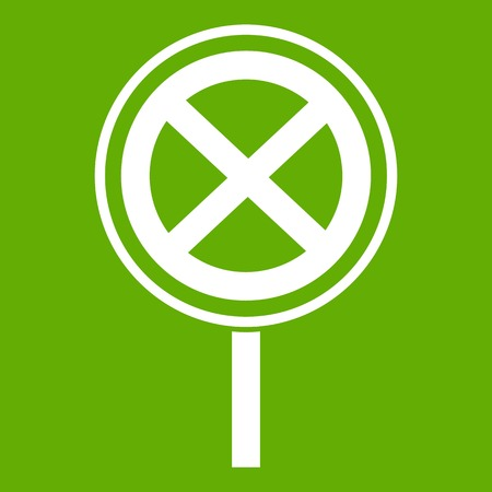 No stopping and parking sign icon green background