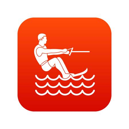 Water skiing man icon digital red for any design isolated on white vector illustration Illustration