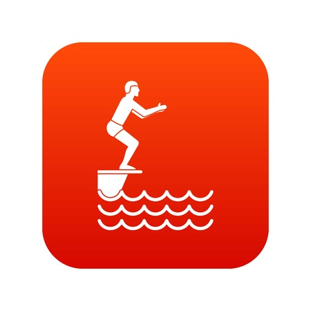 Man standing on springboard icon digital red background Illustration
