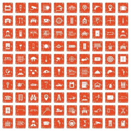 100 keys icons set grunge orange background  イラスト・ベクター素材