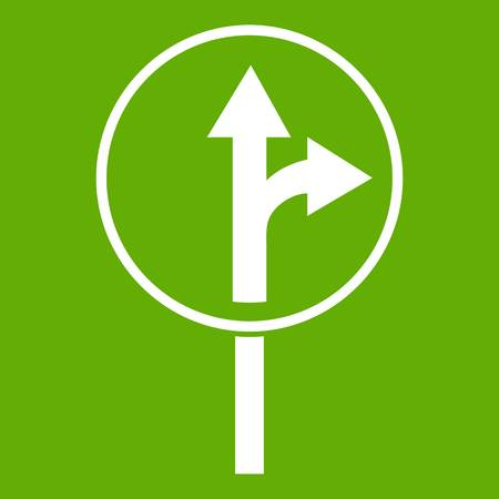 Straight or right turn ahead road sign icon green background