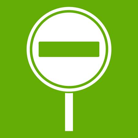 No entry sign icon green background