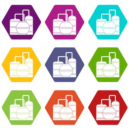 Gas storage tanks icon set many color hexahedron isolated on white vector illustration