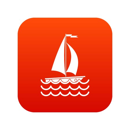 Yacht icon digital red for any design isolated on white vector illustration