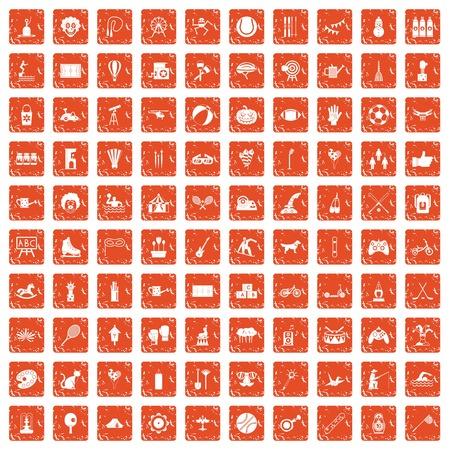 100 kids activity icons set grunge orange background