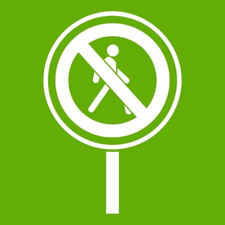 No pedestrian sign icon white isolated on green background. Vector illustration