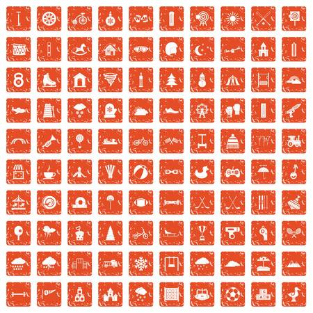 100 kids games icons set in grunge style orange color isolated on white background vector illustration