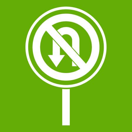 No U turn road sign icon green background