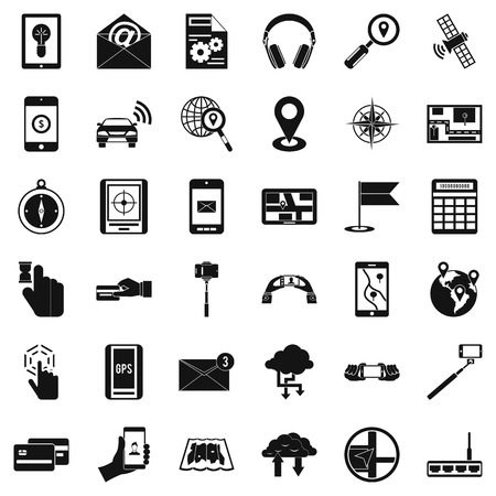 Mobile widget icons set, simple style Ilustrace