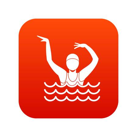 Swimmer in a swimming pool icon digital red background