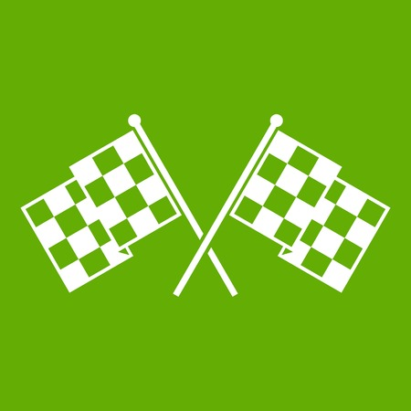Checkered racing flags icon green background Illustration
