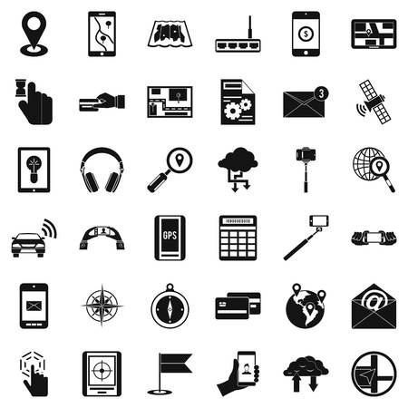 Wireless control icons set, simple style