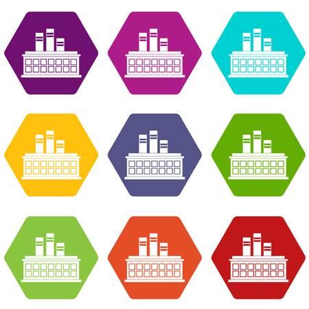Oil refinery plant icon set color hexahedron Illustration