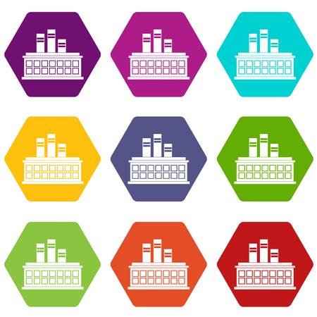 Oil refinery plant icon set color hexahedron Vectores