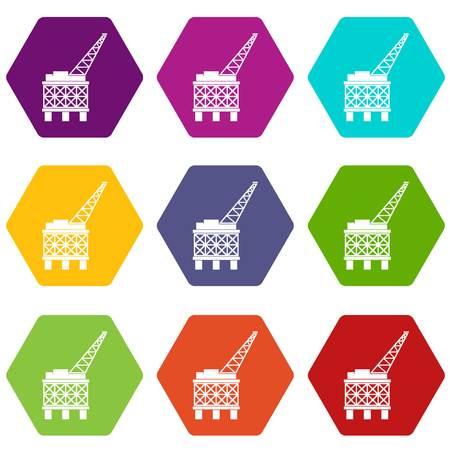 Oil platform icon set color hexahedron Illustration