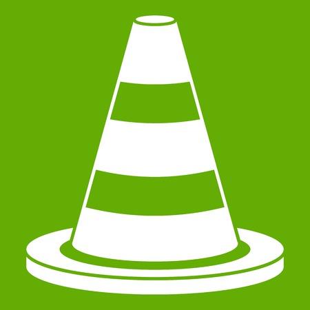 Verkeerskegel pictogram groene achtergrond Stock Illustratie