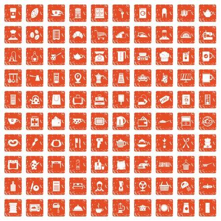 100 kitchen utensils icons set grunge orange background