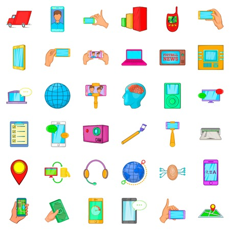 Forthcoming icons set, cartoon style