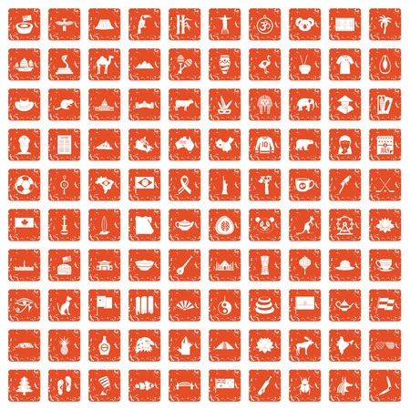 100 landmarks icons set grunge orange Illustration