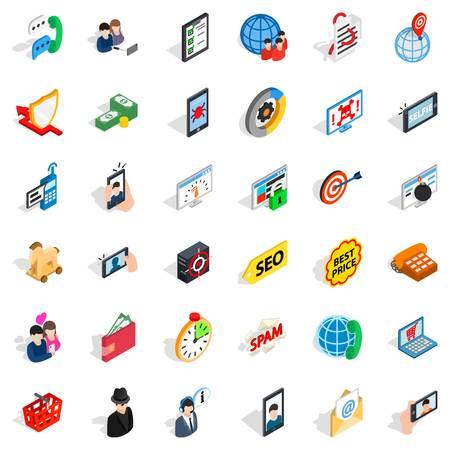 Telecom icons set, isometric style