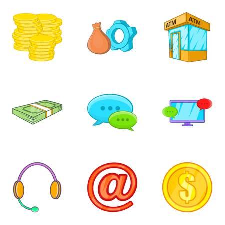 Cashflow icons set, cartoon style