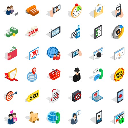 Wireless telecom icons set, isometric style
