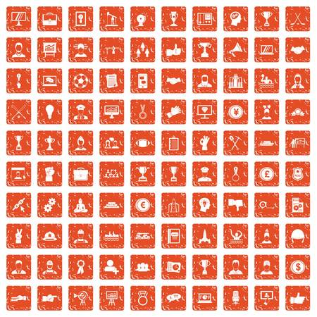100 leadership icons set grunge orange