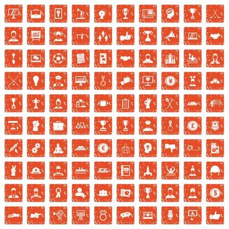 100 leadership icons set grunge orange