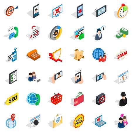 Electric communication icons set, isometric style