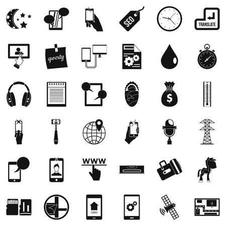 Mobile soft icons set, simple style