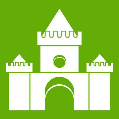 Fairytale castle icon green Illustration