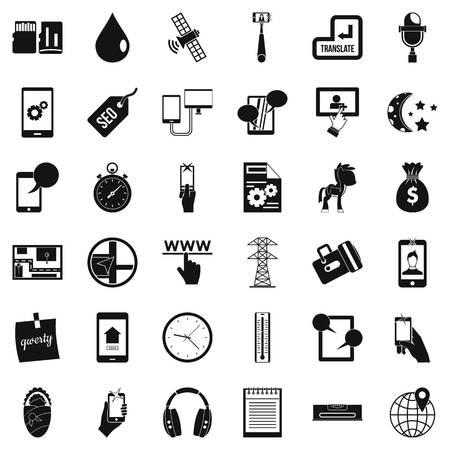 Hardware maintenance icons set, simple style