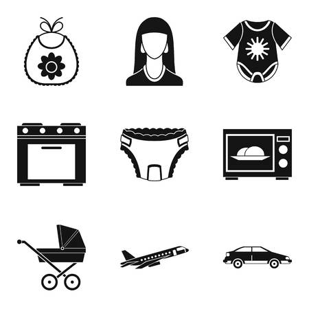 Motherhood icons set, simple style Illustration