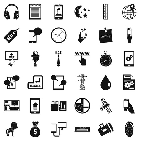 Mobile hardware icons set, simple style