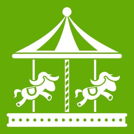 Merry go round horse ride icon green