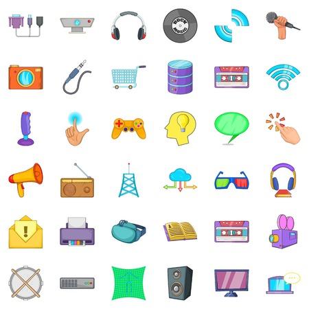 Soft application icons set, cartoon style Çizim