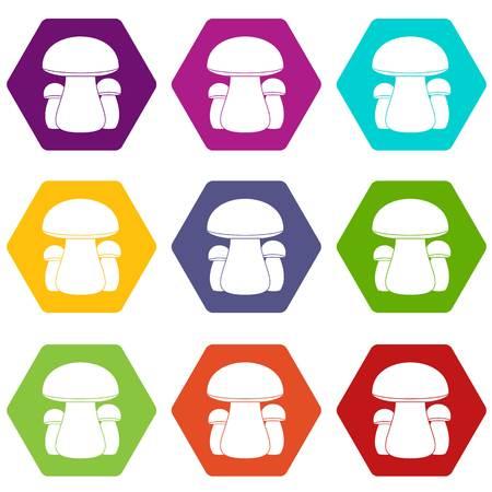 Mushroom icon set color hexahedron 向量圖像