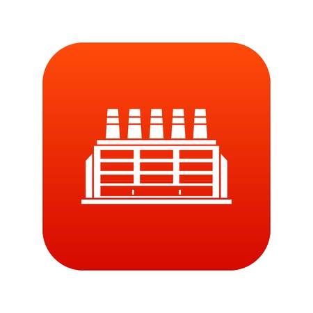 Manufacturing factory building icon digital red