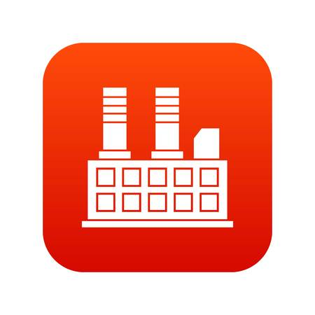 Factory building icon digital red