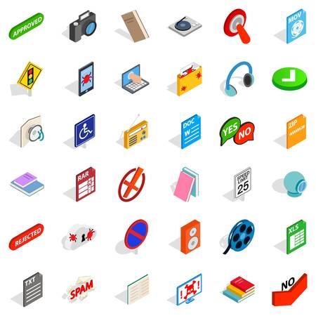 Mobile program icons set, isometric style Çizim