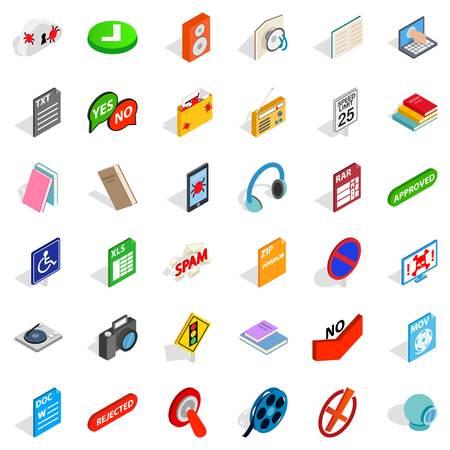 Transfer icons set, isometric style